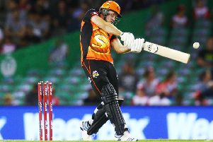 England bowler David Willey of the Scorchers bats during the Big Bash League match between the Melbourne Renegades and the Perth Scorchers. (Picture: Michael Dodge/Getty Images)