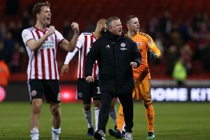 Manager Chris Wilder joins his Sheffield United players on the pitch as they celebrate Wednesday's home win over Middlesbrough (Picture: James Wilson/Sportimage).
