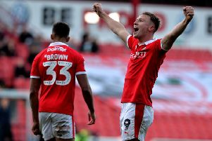 Cauley Woodrow celebrates scoring Barnsley's second goal.  Picture Bruce Rollinson