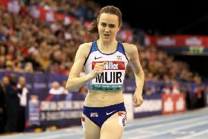 Great Britain's Laura Muir wins the Women's One Mile race at the British Indoor Grand Prix in Birmingham. Picture: David Davies/PA
