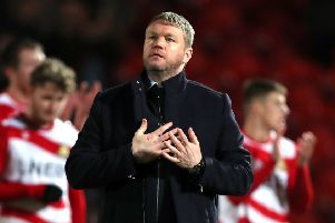 Doncaster Rovers manager Grant McCann acknowledges the crowd after the FA Cup defeat to Crystal Palace at the Keepmoat Stadium. Picture: Richard Sellers/PA
