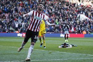 Gary Madine of Sheffield United celebrates scoring his second goal (Picture: Simon Bellis/Sportimage)