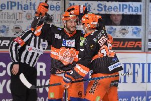 Jonathan Phillips, seen celebrating his goal in the 3-1 home win over Nottingham Panthers. Picture: Dean Woolley.