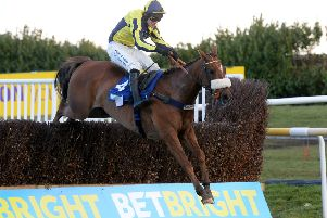 The Last Samuri, pictured winning the 2016 Grimthorpe Chase under David Bass at Doncaster, runs in the colours of Paul and Clare Rooney.