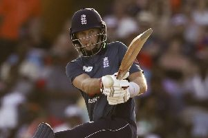 England's Joe Root plays a shot against West Indies during the first One Day International cricket match at the Kensington Oval in Bridgetown, Barbados. (AP Photo/Ricardo Mazalan)