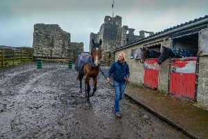 Trainer Ben Haslam and his wife Alice train in the shadow of Middleham Castle.