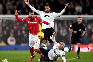 Action from the match between Derby County and Nottingham Forest at Pride Park Stadium in December.  (Photo by Gareth Copley/Getty Images)