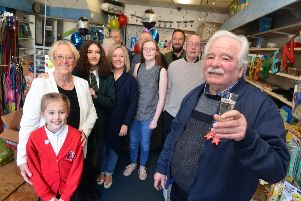Brian Meek of All Pets of Pallion with friends and family on his final day