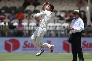 QUICK-THINKING: Duanne Olivier of South Africa sends down a delivery dagainst Pakistan at Newlands in Cape Town. Picture: Shaun Roy/Getty Images