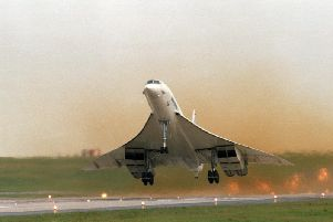A Concorde takes off at Leeds Bradford Airport.