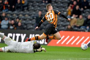 Lee Camp brings down Jarrod Bowen for Hull's penalty.   Picture Bruce Rollinson