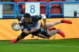 Hull's Ratu Naulago goes over the tryline. Picture Tony Johnson