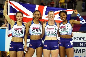 Team Great Britain win silver at the Women's 4x400m Relay Final.
