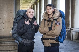 Darron Speck and Alex Speck-Zolte from Bradford are on television show Race Across the World. Picture: BBC/Studio Lambert