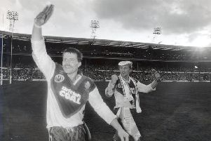 Paul Dixon (left) and Denis Betts - pictured at Wembley after Great Britain's 1990 first Test win against Australia. ''(Picture: Steve Riding)
