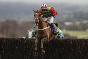 Danny Cook and Definitly Red clear the last in the 2018 Cotswold Chase at Cheltenham.