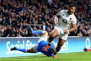 England's Manu Tuilagi scores his side's fifth try.
