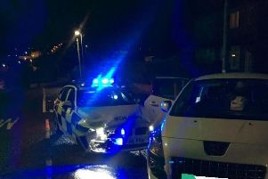 A stolen car which was pursued in Tingley was caught after the driver decided to ram into the police officers. Photo credit: West Yorkshire Police