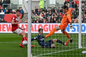 Winner:'Leeds United's Patrick Bamford scores the only goal.'Picture: Jonathan Gawthorpe