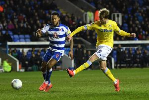 Leeds United's Patrick Bamford misses a second-half chance under presure from Reading's Liam Moore.' (Picture: Jonathan Gawthorpe)