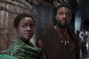 Pictured: Lupita Nyong'o as Nakia, Chadwick Boseman as T'Challa/Black Panther and Letitia Wright as Shuri. Picture credit should read: PA Photo/Walt Disney Pictures/Marvel Studios/Matt Kennedy.