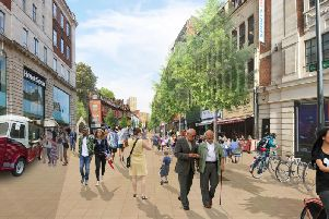 New designshave been revealed showing what the city centre could look like if new transport plans are approved. Photo credit: Connecting Leeds.
