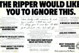 A police poster from the search for the Yorkshire Ripper