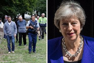 Prime Minister Theresa May has led the UK condemnation of the Christchurch mosque shootings that killed 49 people. (AP Photo/Mark Baker)