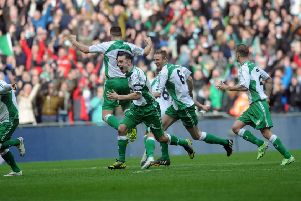 SWEET MEMORIES: North Ferriby United's players celebrate their FA Trophy triumph at Wembley against Wrexham back in 2015. Picture: Jonathan Gawthorpe.