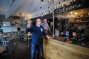 Feature on Chapeltown Tap House and Gin Bar, Chapeltown, Sheffield..Richard Colton (left) and Darrel Johnson pictured in the  bar..8th February 2019.Picture by Simon Hulme