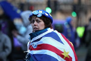 An anti-Brexit supporter outside Parliament during this week's votes.
