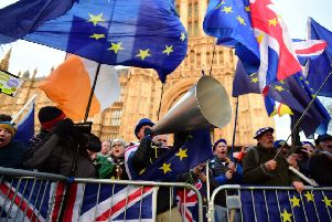 Brexit protesters outside the Houses of Parliament earlier this week.