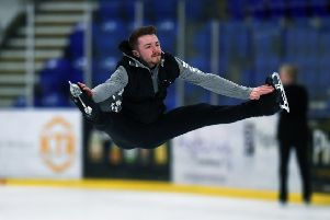 FLYING HIGH: World Figure Skating Championship qualifier PJ Hallam, in practice at Ice Sheffield.' Picture: Jonathan Gawthorpe