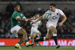 Ireland's Bundee Aki (left) and England's Ben Youngs