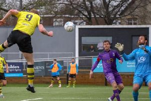 Harrogate Town's Mark Beck powers home a header to break the deadlock during Saturday's National League clash with Maidenhead United. Picture: Matt Kirkham