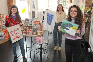 Art students Megan Whalen, River Blue Wild and Esme Rose Marshall at Find&SeeK,  a Leeds Art University student collaboration project - a pop up shop at Leeds Corn Exchange. Picture Tony Johnson.