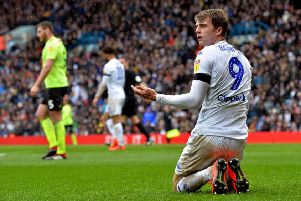 Patrick Bamford questions the linesmans decision.'Leeds United v Sheffield United.  SkyBet Championship.  Elland Road.'16 March 2019.  Picture Bruce Rollinson