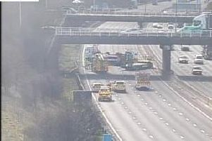 The M1 southbound is closed at Junction 31 following a collision