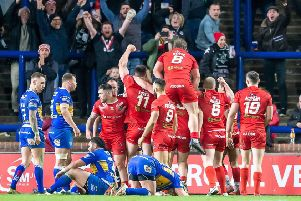 London's celebrate Will Lovell's try to seal victory against Leeds.