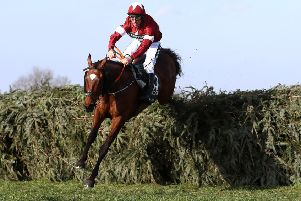 Tiger Roll and jockey Davy Russell as they cleared the final fence in last year's Grand National.
