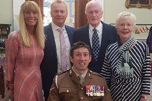 Yvonne Woodcock with Ben Parkinson and guests at the Freedom of Doncaster ceremony at Mansion House
