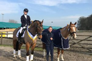 Caitlyn Saddington with trainer Olivia Voce and her horses, Nirvana Morroko and Dreamallo