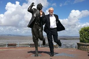 Jeremy Corbyn at the Eric Morecambe statue during a previous visit to Morecambe. Photo by Alan Gregson