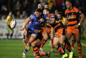 Castleford's Jordan Rankin tackles St Helens' Morgan Knowles. (Nigel French/PA Wire)