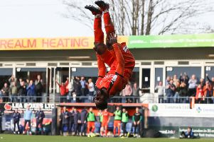 Luton Town's Kazenga Lua Lua celebrates scoring his side's third goal against Doncaster (Picture: PA)