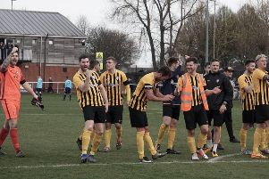 Worksop Town players celebrate another win.