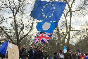 Protesters carried flags for the EU, Yorkshire and the UK