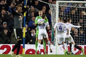 Bailey Peacock-Farrell celebrates after saving a last-gasp penalty in Leeds United's 1-0 win over Reading.