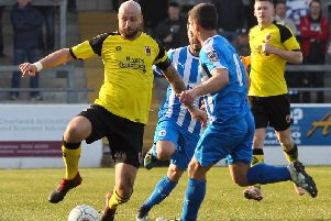 Skipper Andy Teague makes a tackle for the Magpies at Chester