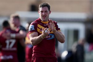 Huddersfield Giants Joe Wardle applauds the fans after their win during the Betfred Super League match at Trailfinders Sports Club, London. (Picture: Bradley Collyer/PA Wire)